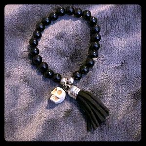 Stretchy Black Bead and Skull Bracelet